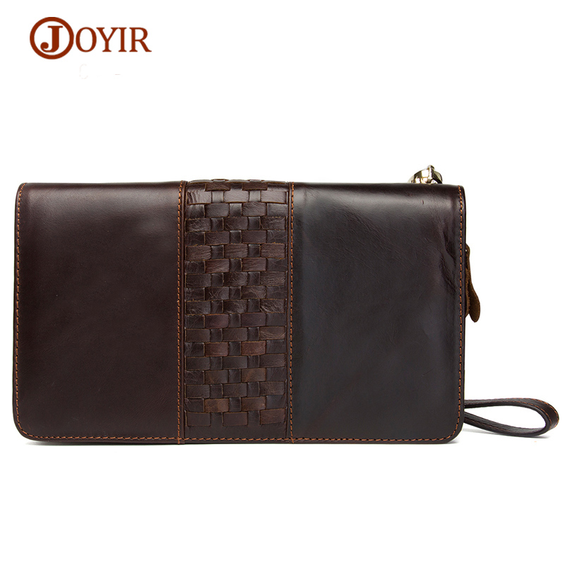 JOYIR Double Zipper Large Capacity Business Men Wallets Vintage Genuine Leather Clutch Wallet Men's Wallets with Phone Bags brand double zipper genuine leather men wallets with phone bag vintage long clutch male purses large capacity new men s wallets