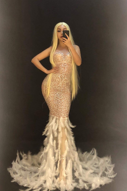 Venda quente mulheres sexy ver através de malha strass vestido noite festa de aniversário pena cantor traje longo fios líquidos vestidos - 2