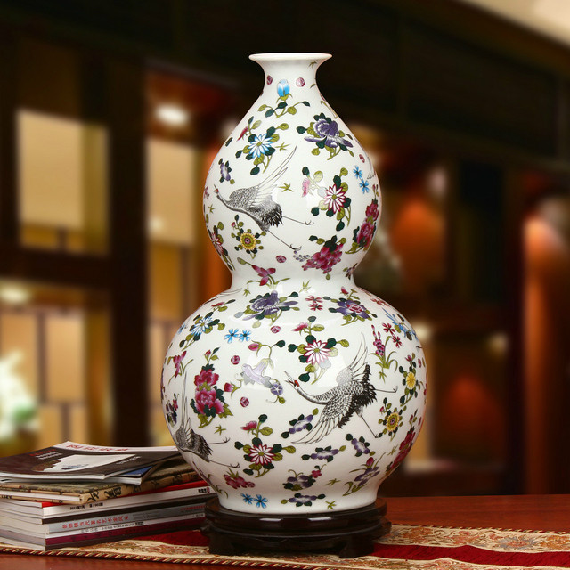 66cm Height Large Antique Jingdezhen Luminous Vase With Flowers And