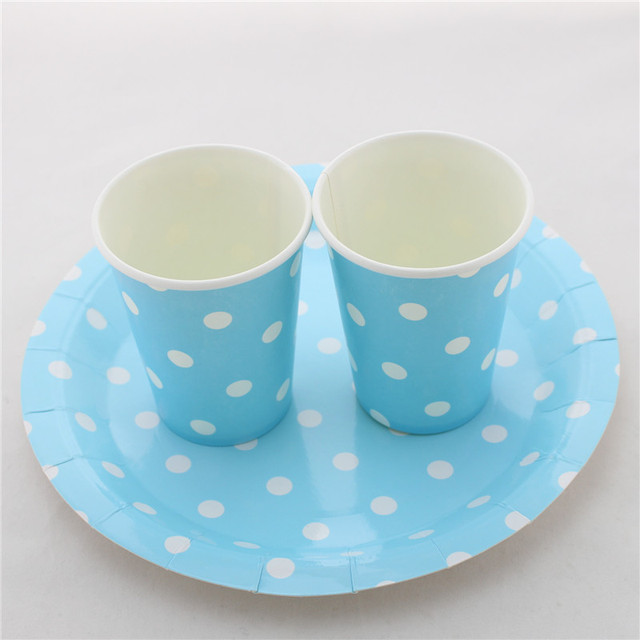 Ipalmay Wedding Birthday Decor Disposable Chevron Striped Dot Party Drinking Paper Cups Plates