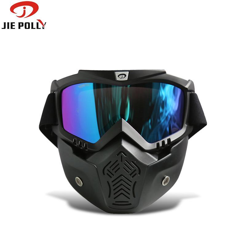 Flight Tracker Jiepolly Motocross Winddicht Brille Retro Gesicht Staub Maske Gläser Abnehmbare Vintage Staubdicht Moto Motorrad Sonnenbrille Angenehm Bis Zum Gaumen
