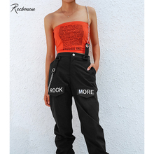 Rockmore Black Gothic  Korea Style Cargo Pants With Chain Pocket Women High Waist Trousers Wide Leg Pants Femme Pant Winter Fall