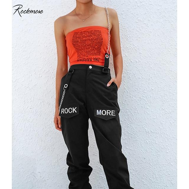 Rockmore calças cargo femininas estilo gótico, calças pretas coreanas com bolsos na corrente, calças de cintura alta, perna larga, feminina, para inverno outono