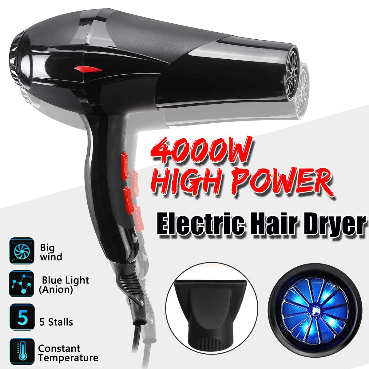 Professional 4000W Strong Power Hair Dryer For Anion Hairdressing Barber Salon Tool Blow Dryer Low Hairdryer Hair Dryer Fan 220V