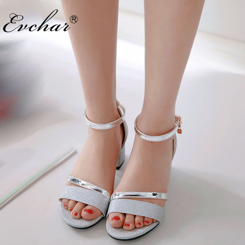 EVCHAR ankle buckle strap womens sandals med square heel solid PU leather Glitter shoes woman concise sandals plus size 31-50 pu line style buckle rhinestone nice womens sandals
