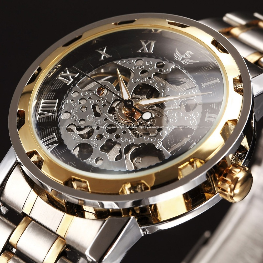 Us 17 99 Sewor Skeleton Mechanical Watch Brand Steampunk Men Wristwatches Hand Wind Relogio Clock Stainless Steel Casual Watch Pmw222 In