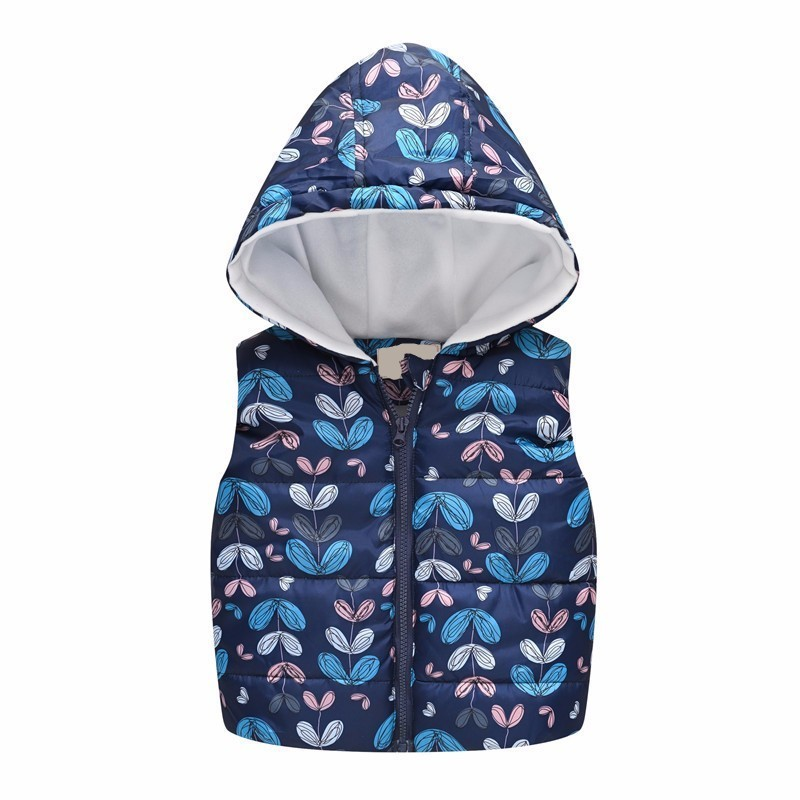 Toddler Kids Baby Girls Boys Waistcoat Coat Sleeveless Print Hooded Warm Outwear Tops