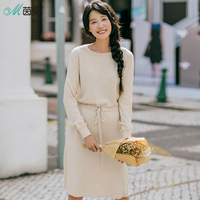 INMAN Women Winter Long Dresses Drawstring Solid Color Leisure Knitted Dress