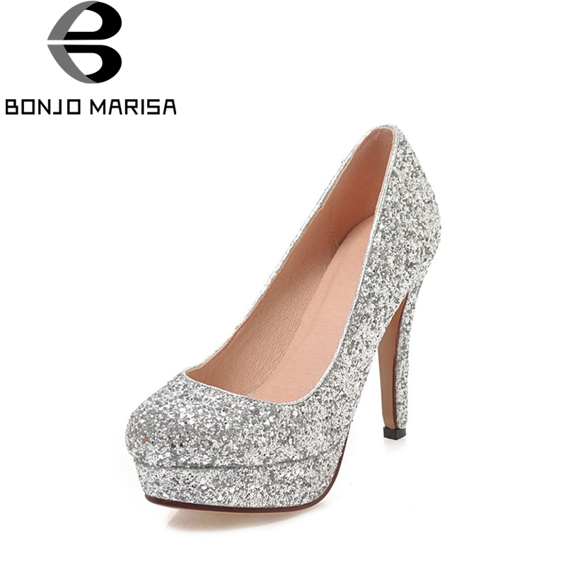 BONJOMARISA Women's Shinning Glitter Upper High Heels Party Wedding Shoes 2018 Woman Round Toe Platform Pumps Big Size 34-43 new luxury wedding shoes women high heels platform shoes woman round toe performance stage shoes beige pearl big size high pumps