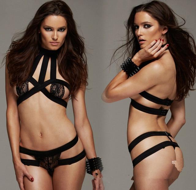 New Sexy Underwear Set Sexy Ladies Lingerie Bikinis Black Sexy Open Breast Bundled Temptation Perspective Sleepwear