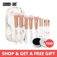 MAANGE 10 pièces/ensemble pinceaux de maquillage professionnel Pincel Maquiagem Marbling poignée fond de teint poudre surligneur brosse maquillage outils