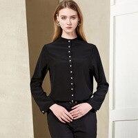100% Silk Crepe Blouse Pure Silk Fabric New Fashion Women Silk Shirt Plain Color Wholesale Free Shipping