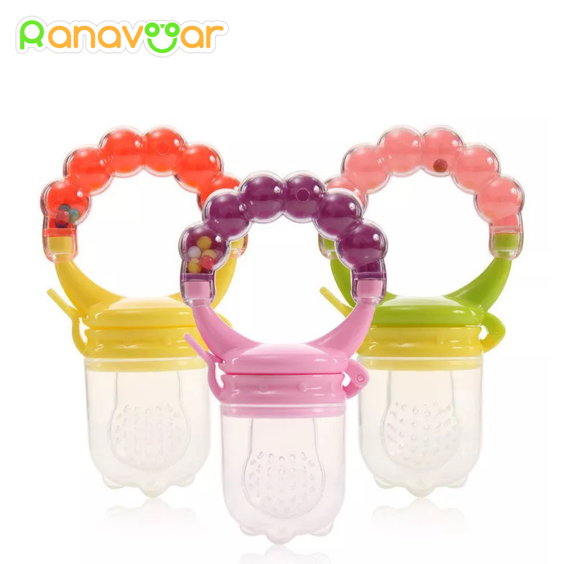 Baby Nipple Fresh Food Fruit Milk Feeding Bottles Nibbler Learn Feeding Drinking Water Straw Handle Teething Pacifier with bell leakage proof straw cap for drinking bottles 2 7cm random color