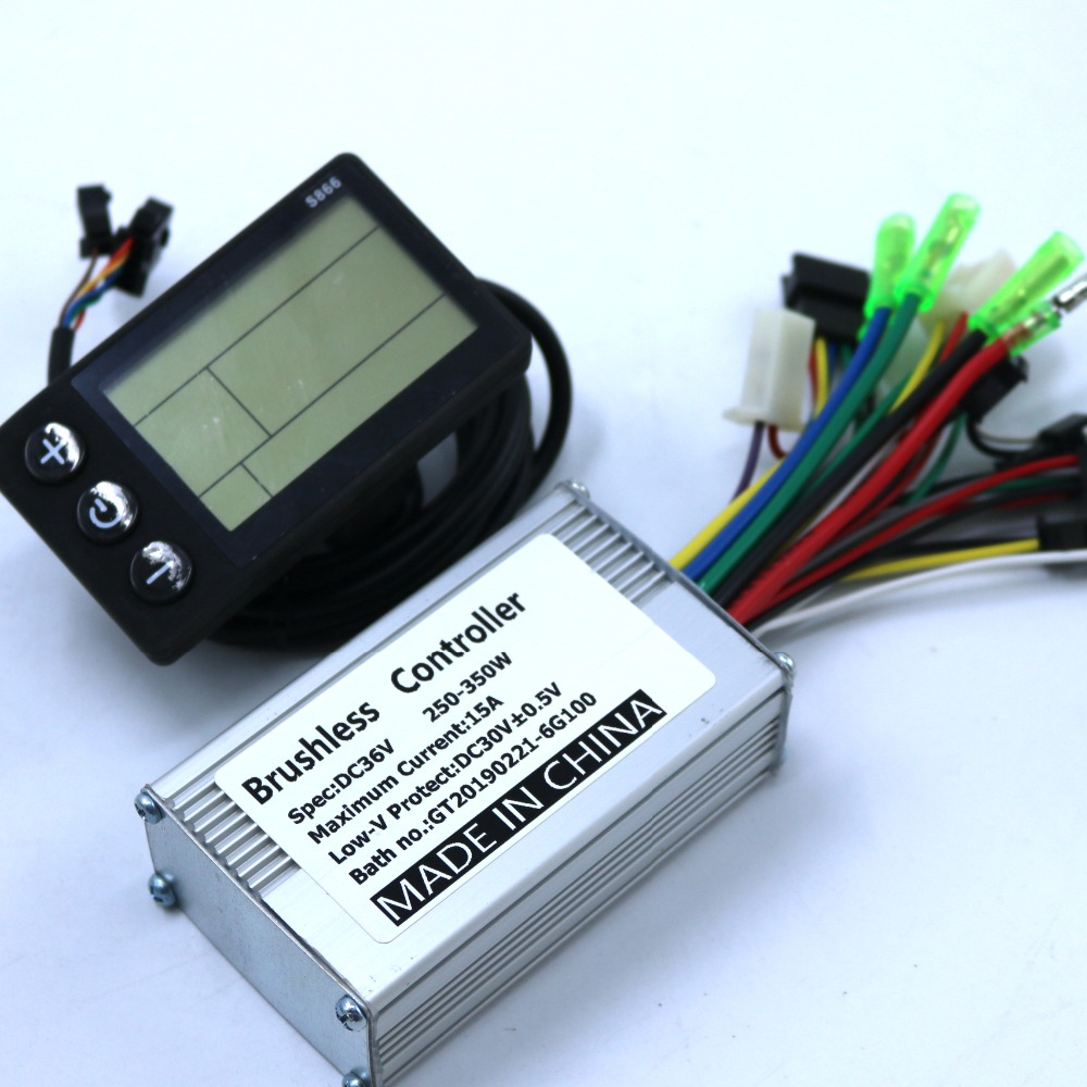 36V 48V 350W/250W BLDC Motor Controller E-bike Brushless Speed Controller And S866 LCD Display One Set
