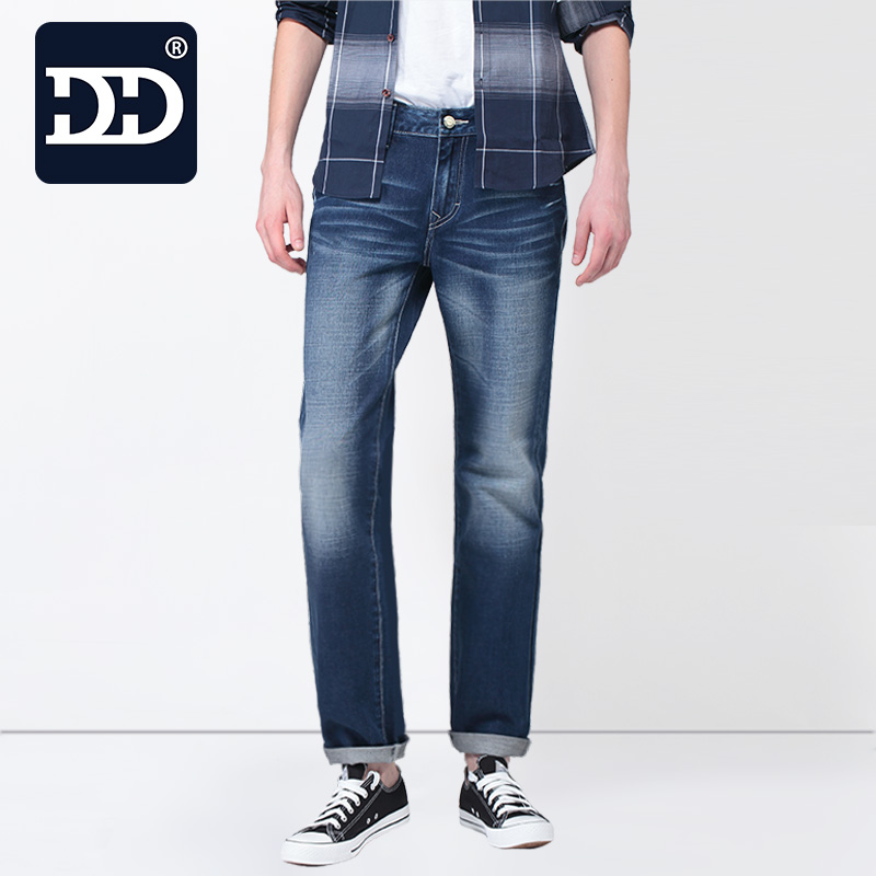 ФОТО Sep.30th App 60% OFF  New Slim Fit Casual Pants Deep Blue Jeans Men Stretch Chinese Famous Brand  Men Pants Best Jeans For Men