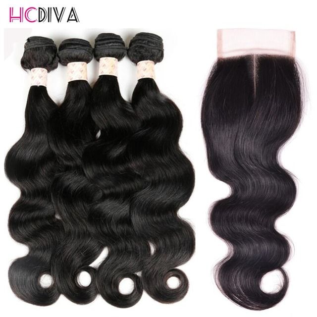 Unprocessed Brazilian Natural Body Wave 7A Virgin Human Hair With  Lace Closure 4 Bundle Deals HCDIVA Remy Hair Weave Extension