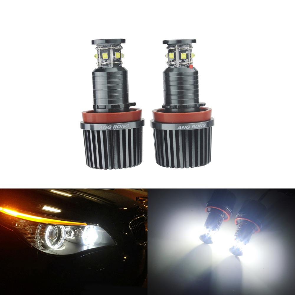 ANGRONG For BMW Angel Eyes H8 60W LED Marker Halo Headlight Bulbs E90 E91 E92 E60