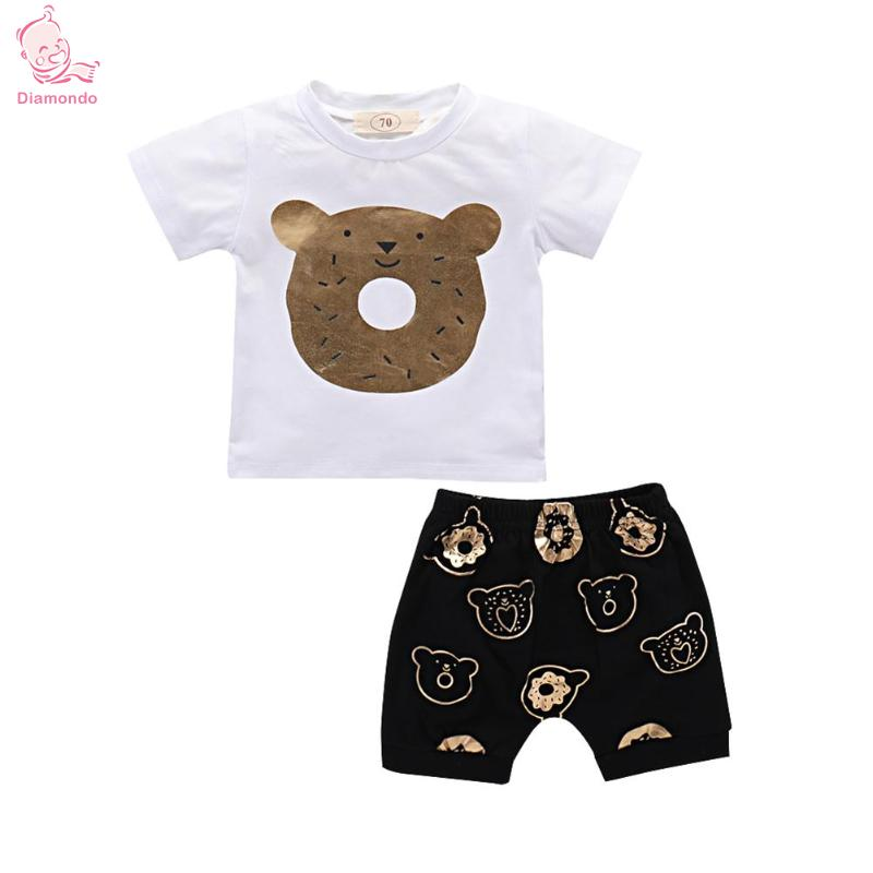 Summer Baby Clothes Set Newborn Baby Boys Cartoon Print T-Shirt + Pants 2018 New Cute Co ...