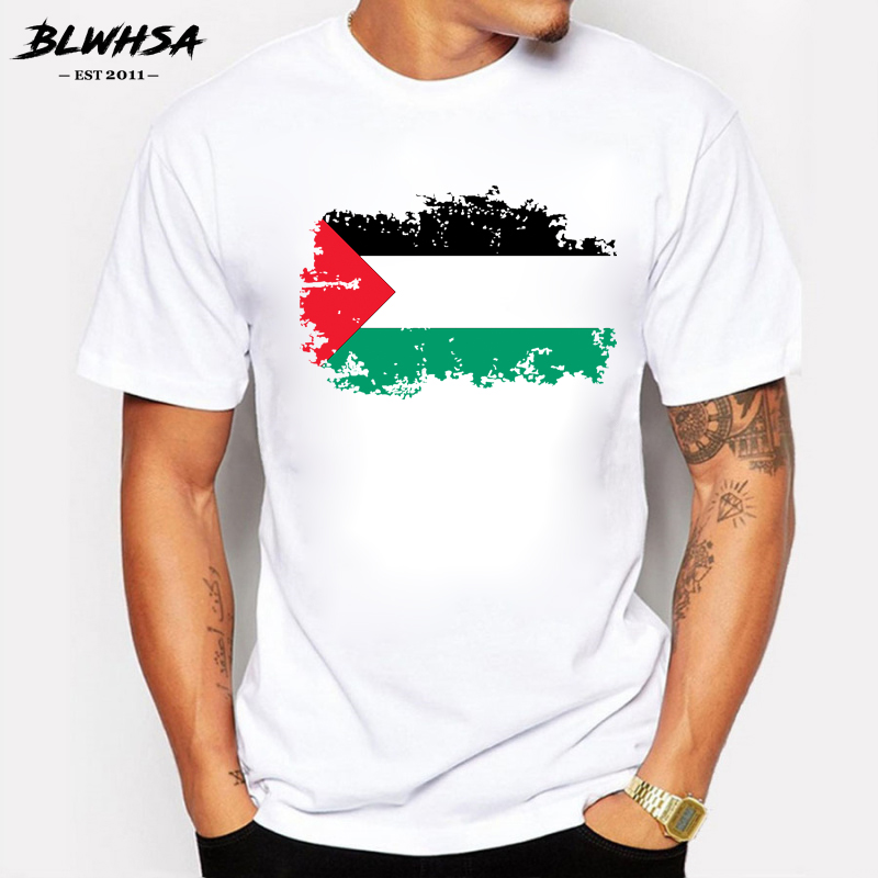 BLWHSA Palestine Flag Men T shirts Fashion Short Sleeve Summer Nostalgia T-shirts Brand Design Fans Cheer Tshirt