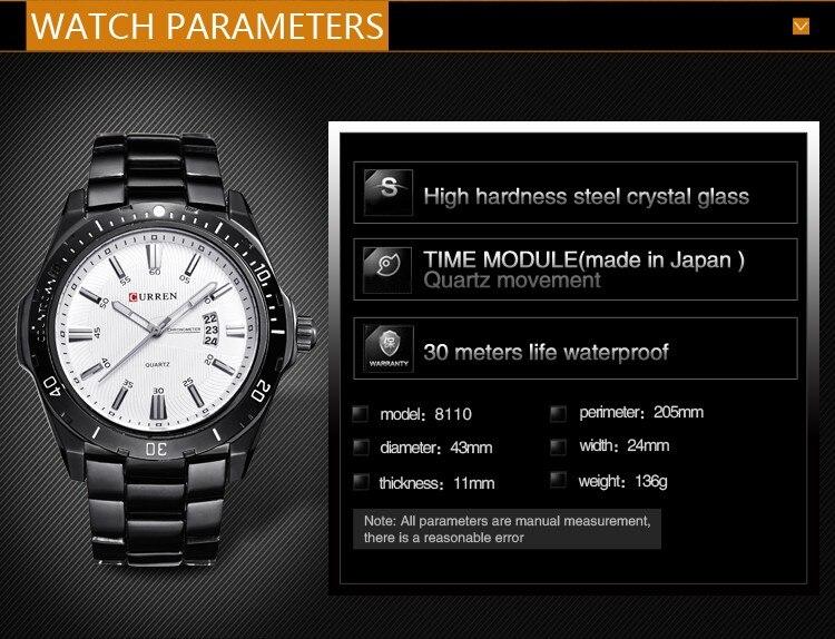 Mens Watches Top Luxury Brand CURREN 18 Men Full Steel Watches Quartz Watch Analog Waterproof Sports Army Military WristWatch 5