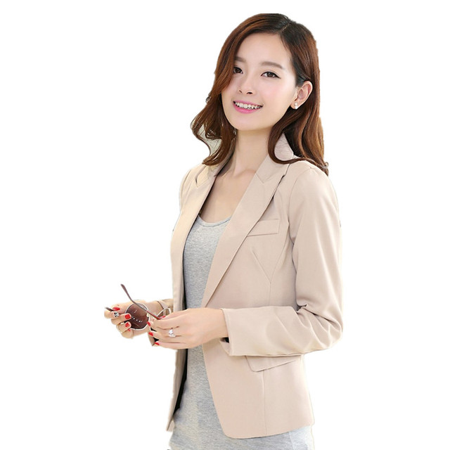 New fashion women blazer full notched Blazer black khaki Slim Coat Women's  Casual Outwear Blazer plus size suit S-XXXL  HS1057