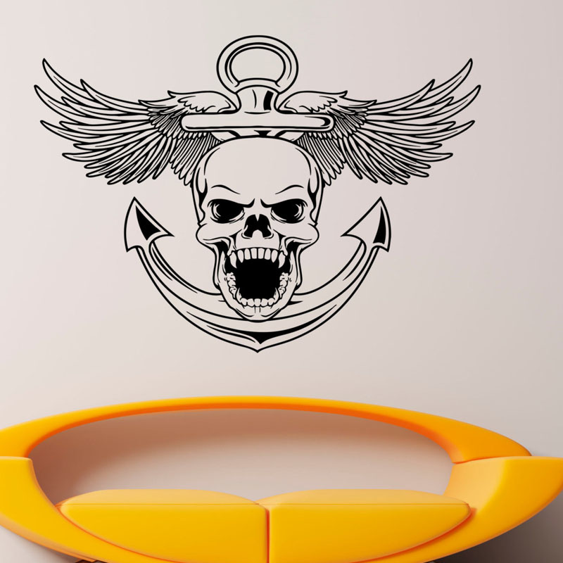 Design Boys Favourite Wall Stickers Skull Nautical Anchor Wall Art Decal Ocean Sea New Style Vinyl Murals Removable Decor M532