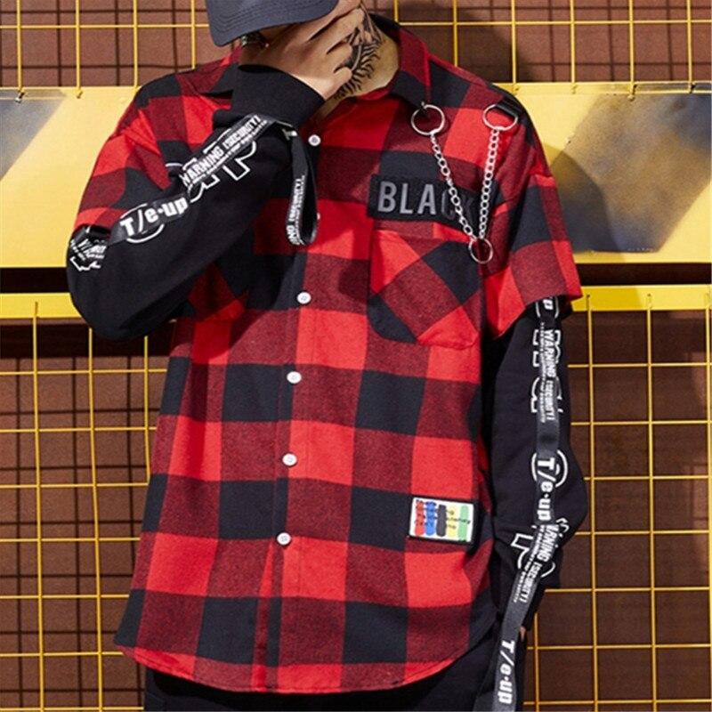 Chemises homme bouton Up Punk Rock Rap rouge et noir Plaid Patchwork chemise hommes Hip Hop chemise à carreaux mode coréenne Streetwear