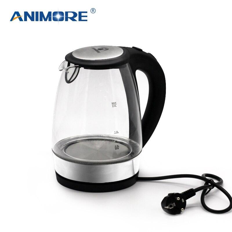 ANIMORE 2L vidrio Hervidor eléctrico de forma automática anti-caliente de acero inoxidable hogar Hervidor eléctrico aparatos de cocina EK-02