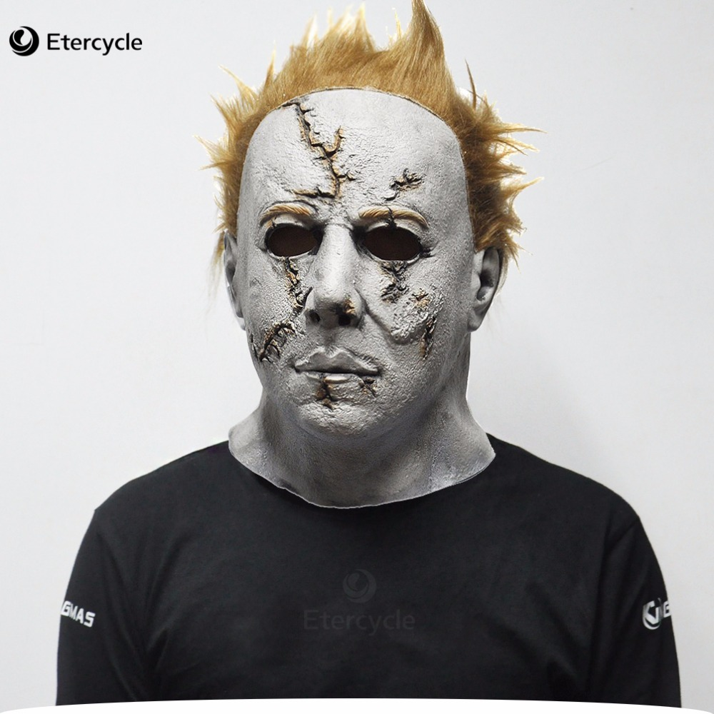 Scary MichaelMyers Mask Horror Movie Halovīni Cosplay Pieaugušo lateksa puse maska