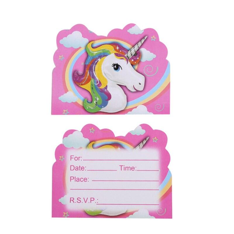 10 Pcs/pack Kawaii Cartoon Unicorn Party Invitation card birthday ...