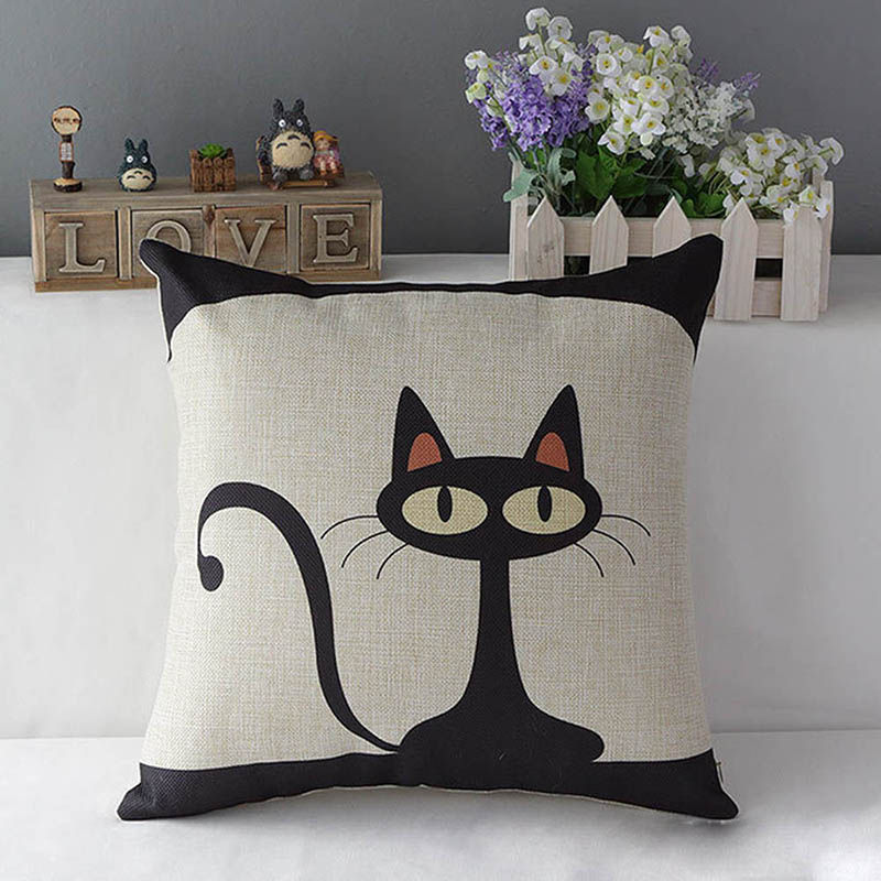 Hot Sell Cute Cat Print 17 Cotton Linen Throw canvas literary home decorate Pillow Case Cover Pillowcase