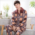 Warm Winter Men sleepwear male thick pajamas cotton tracksuit casual pijama hombre long-sleeved plaid suit hombre