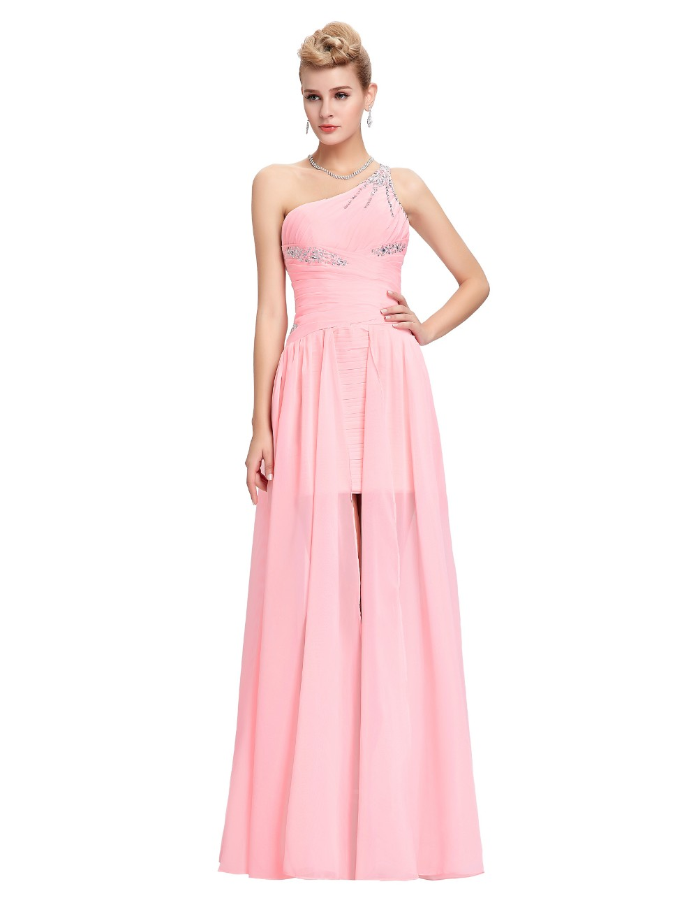 Light Pink Bridesmaid Dresses Grace Karin Beaded Chiffon One Shoulder Formal Gowns Short Front Long Back Wedding Party Dresses 8