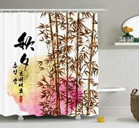 Bamboo House Shower Curtain Set, Bamboo Painting with Words in Mid Autumn Festival Giving Day Harvest Artsy Work