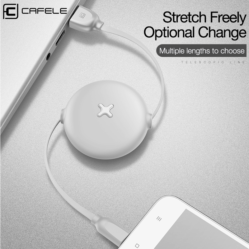 CAFELE type c usb Cable for samsung huawei xiaomi Candy colors Fast Charging Flat Retractable Usb cable Charger Data sync Cable in Mobile Phone Cables from Cellphones Telecommunications