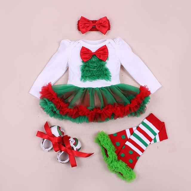 4 Unids por Conjuntos de Ropa De Bebé Niña Verde Rojo Recién Nacido Bebé Niñas Vestido de la Navidad Zapatos Polainas Diadema
