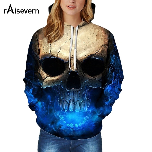 Raisevern Blue Skull Hoodies Sweatshirts 3D Print Funny Hip Hop Hoodies Fashion Streetwear Hooded Tracksuits Plus Size Dropship