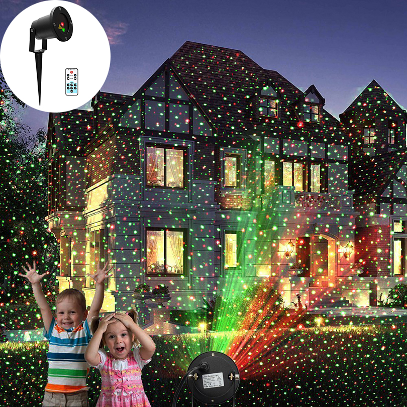 LED Landscape Laser Lights Auto rotate Red and Green lighting waterproof outdoor star Projector effect Lamp