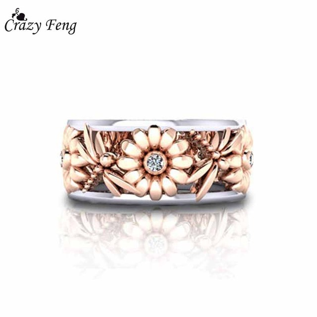 Crazy Feng Charms Rose Gold Color Sun Flower Rings For Women Stainless Steel Hollow Out Crystal Rhinestone Dragonfly Anillos