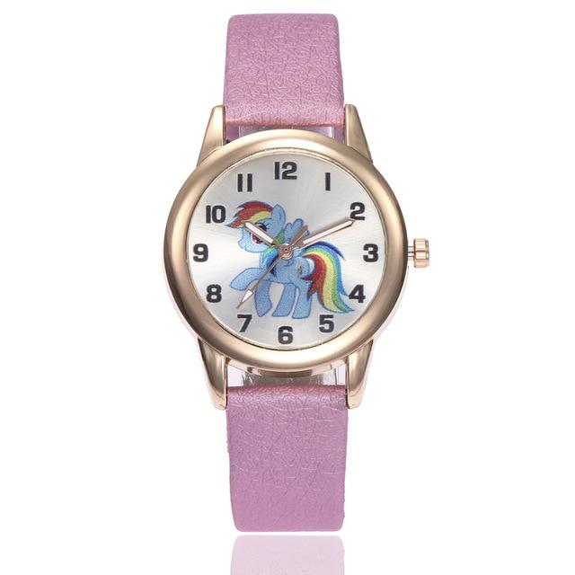 Children Watch Unicorn Pony Leather Strap Analog Dial Quartz Watches Kids Wrist