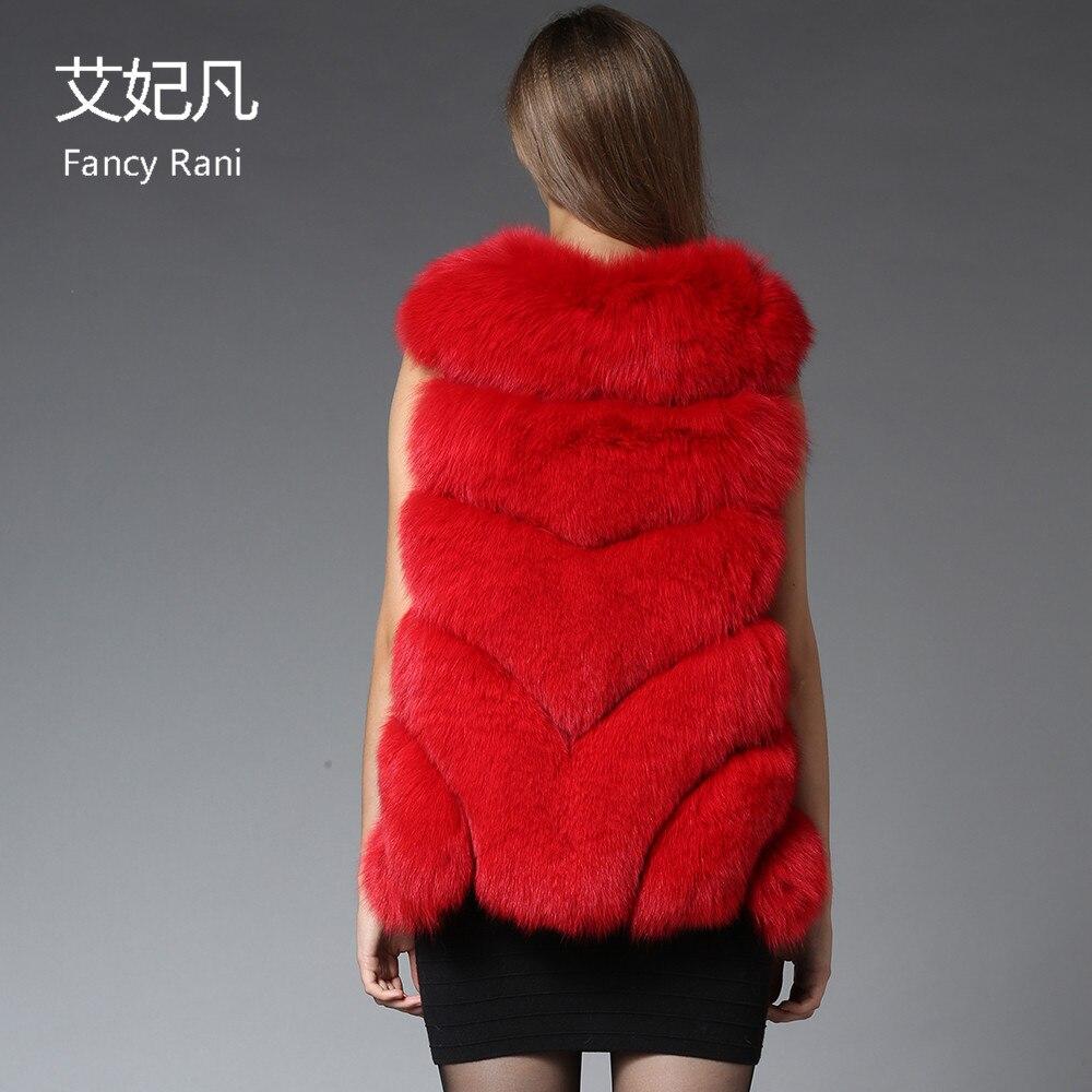 Fourrure Renard Épais Manches Gilet Femmes Véritable 70 Hiver Cm Pour Vestes Rouge Manteau Chaud 2018 Outwear De Réel Sans YSwFx