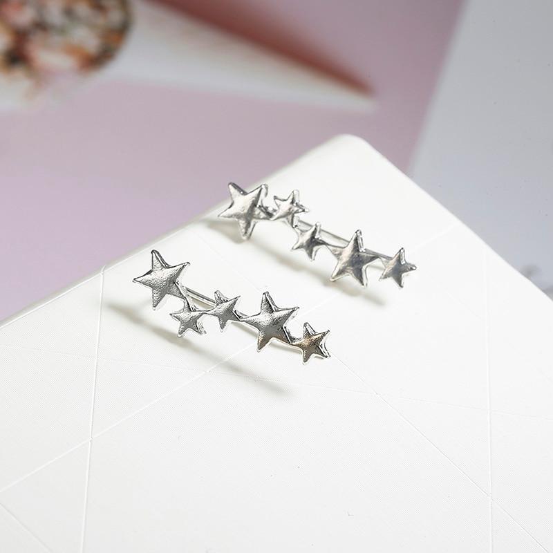 Moon Star Ear Climber Tiny Star Moon Stud Earrings For Women Everyday Teen Mothersday Celestial Birthday Gift Jewelry Earrring 4