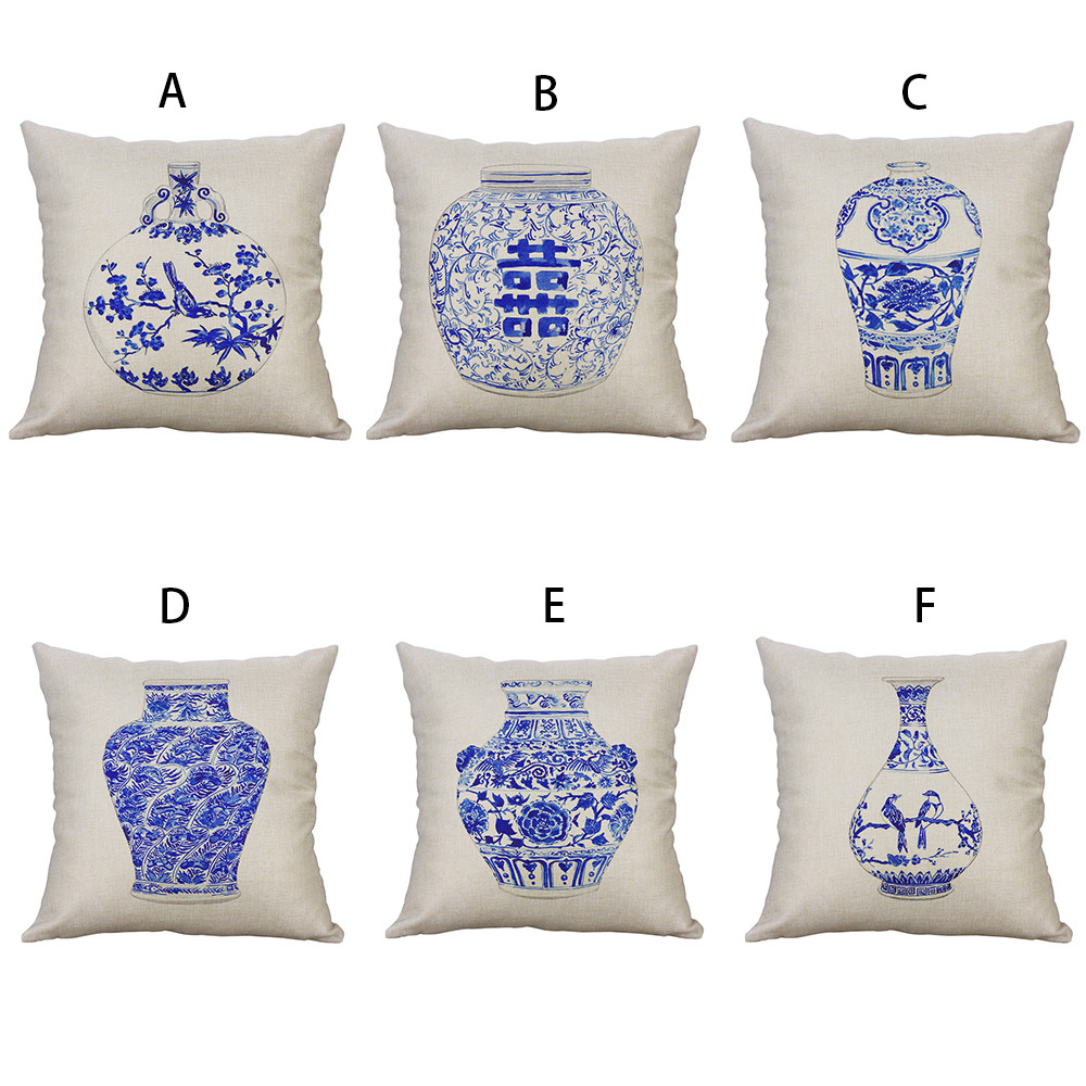 Pillow Case Chinese Style Blue and White Vase Chair Cushion Cover Pillowcases Cotton Linen Kussenhoes Throw Pillow Cover Cojines