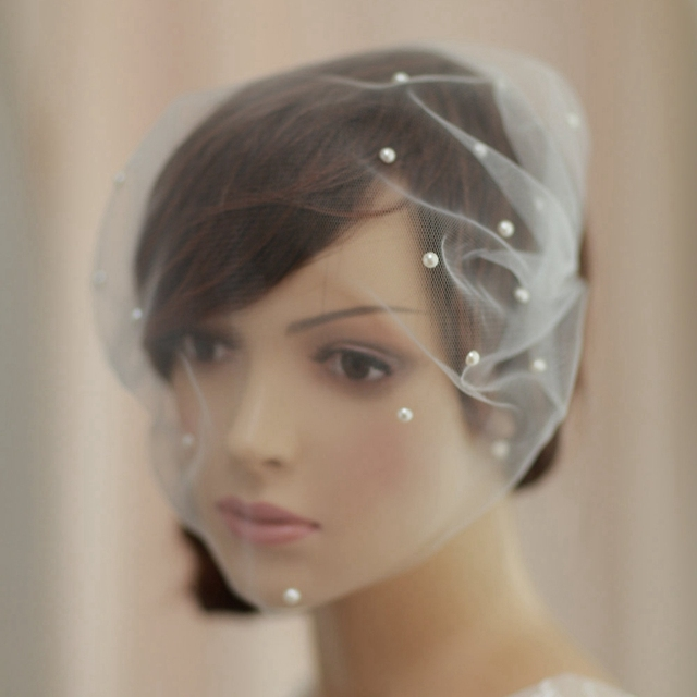 Elegant Ivory Tulle Birdcage Wedding Veil Pearl Bead Short Wedding Veil With Comb Accessories Bridal Veil Party Accessories 2017