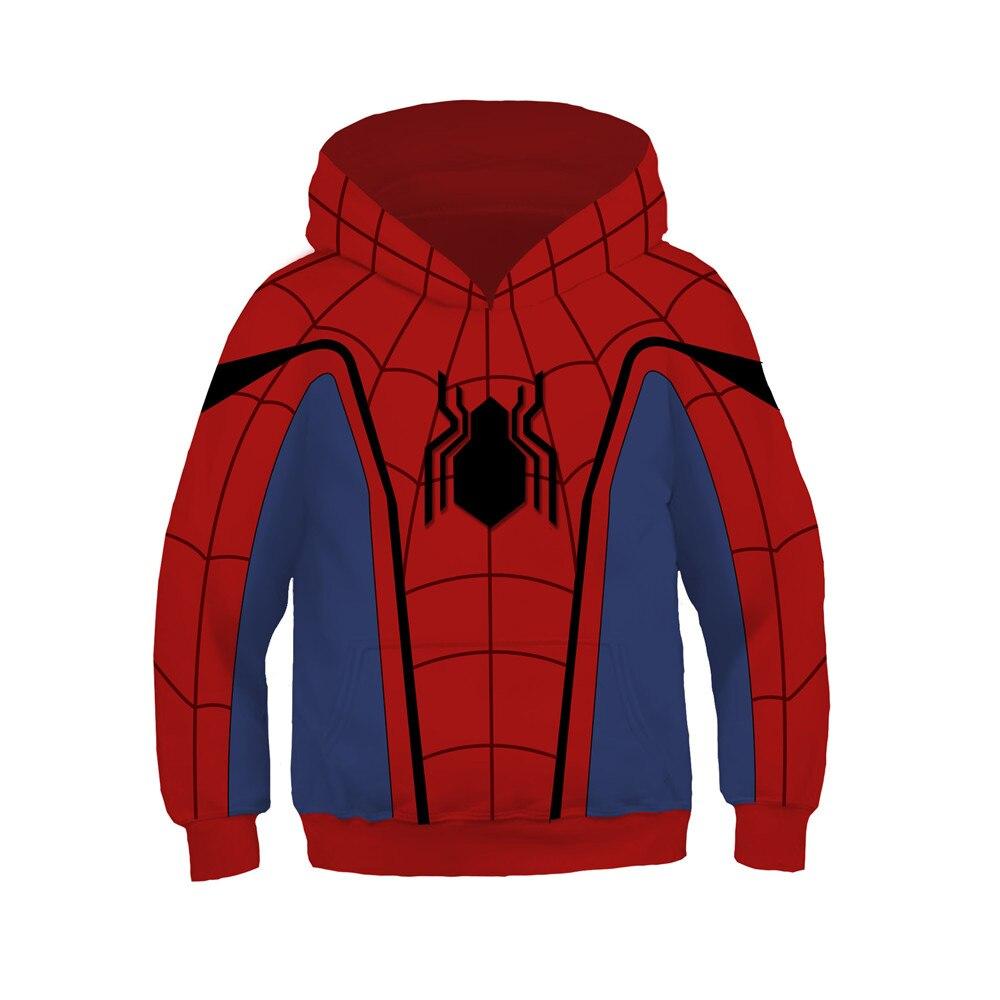 Cosplay kids boys girls hero Spider-Man Hoodie Jacket 3D Printed Sweatshirt Spider-Man: Homecoming  coat Christmas costumes