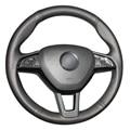 Black Artificial Leather Car Steering Wheel Cover for Skoda Octavia 2017 Fabia 2016 2017 Rapid Spaceback 2016 Superb (3-Spoke)