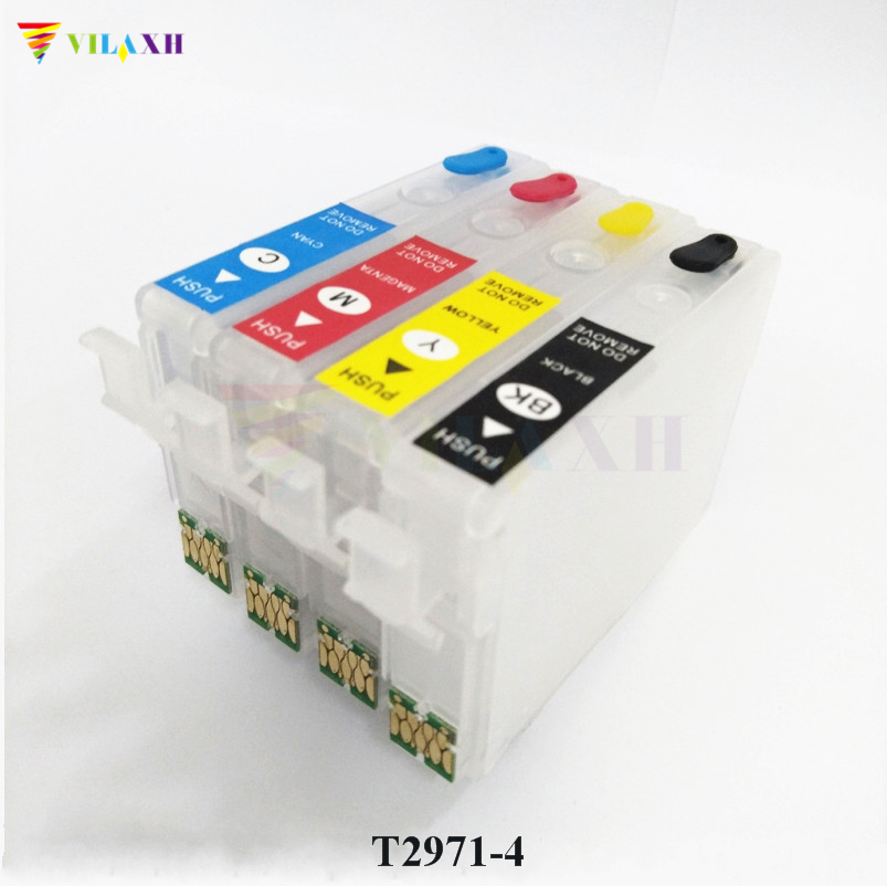 vilaxh T2971 - T2964 Refillable Ink Cartridge For Epson XP231 XP431 XP241 XP-431 XP-231 XP-241 XP 431 231 With One Time Chip xp 530 xp530 xp 630 xp 830 with single chip refill ink cartridge t410xl t410 410xl for epson xp900 xp645 xp635 xp540