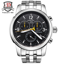 Watches Men Luxury Brand BINKADA Automatic Mechanical Watch Waterproof Perpetual Calendar Leather Wristwatch relogio masculino