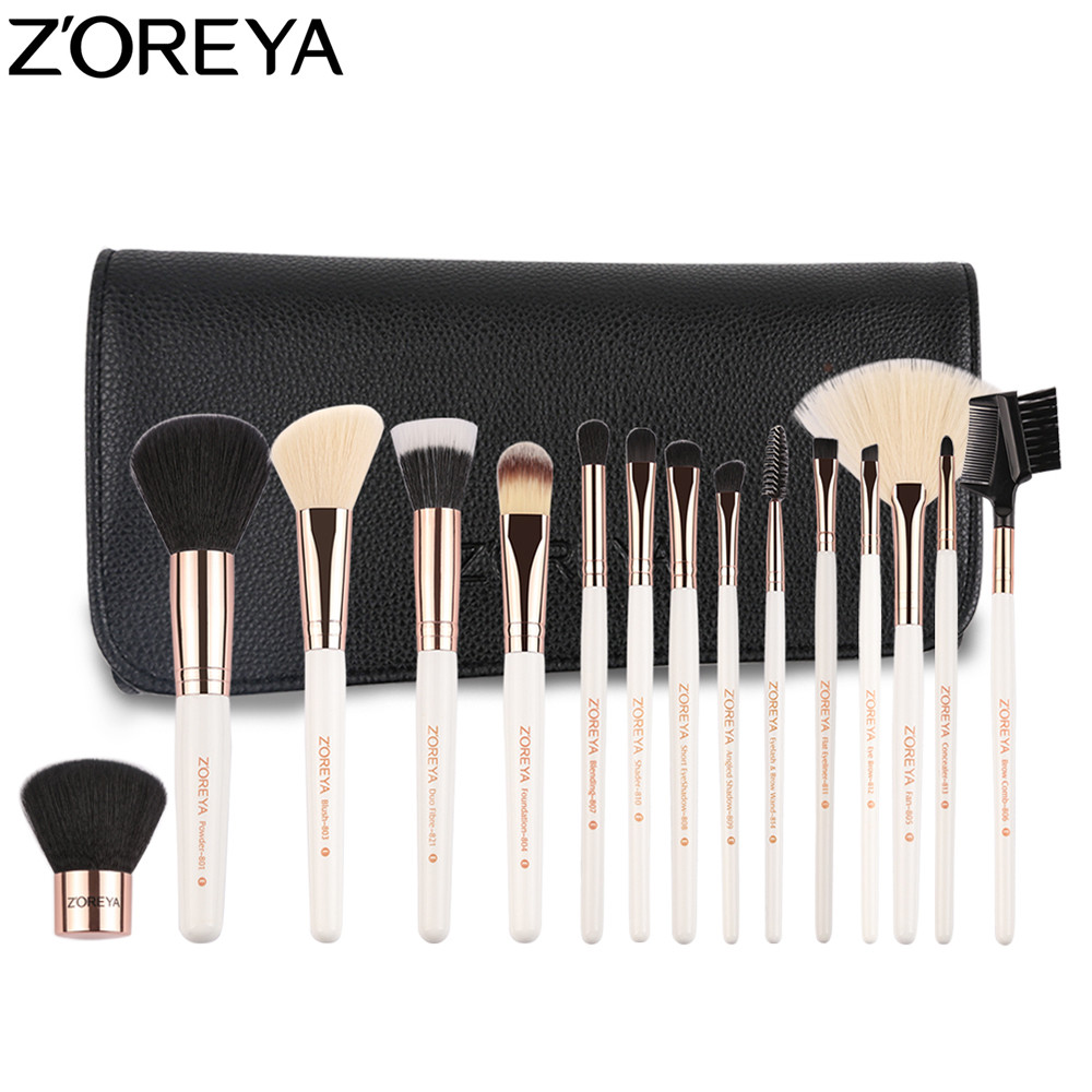ZOREYA Brand 15pcs Makeup Brushes Powder Foundation Blending Eyeshadow Eyeliner Kabuki Brush Set professional mini bluetooth wireless backlit gaming mechanical keyboard blue black red brown switch wired game keyboard for pc