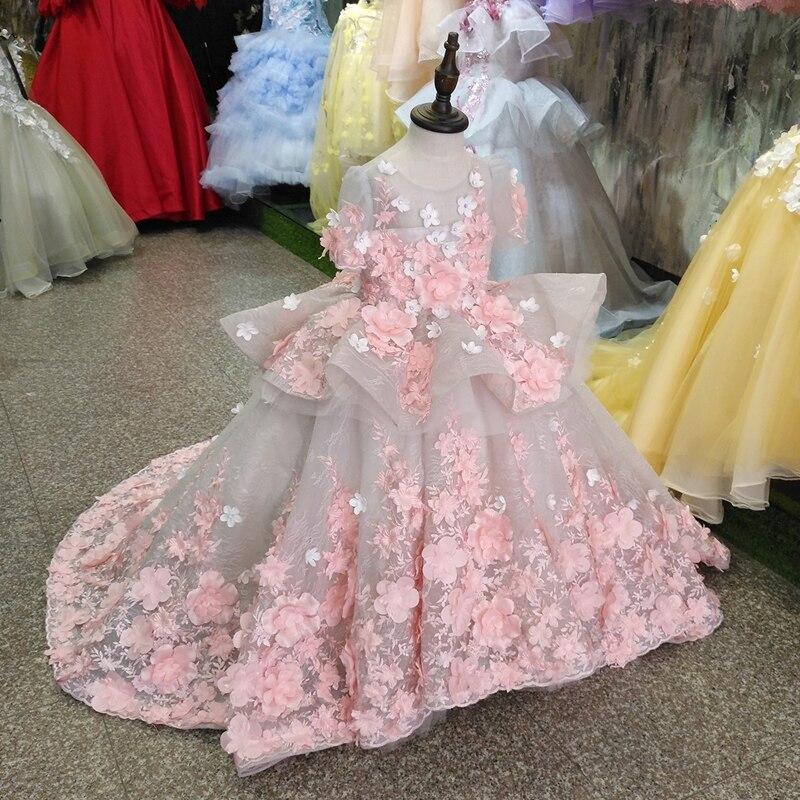 Для девочек розовый 3D цветок свадебное платье Роскошные девушки платье принцессы для девочек вечерние платье Детское бальное платье на ден